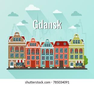 Vector illustration of european town Gdansk. Flat design. Old houses.