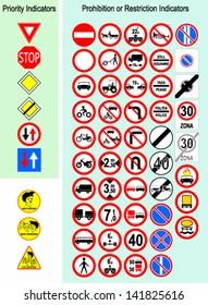 Vector illustration of european traffic signs.