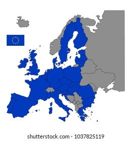 vector illustration of European Union countries map with flag