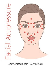 Vector illustration: european woman face with instructions for facial acupressure isolated on white background
