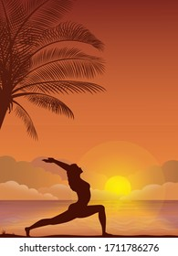 Vector illustration - Evening beach silhouette. Palm, sand, ocean on background. Sunset with palm leaves. Yoga exercises on the beach.