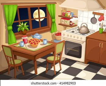 Vector illustration of an evening kitchen interior with laid table and a kettle on a stove.