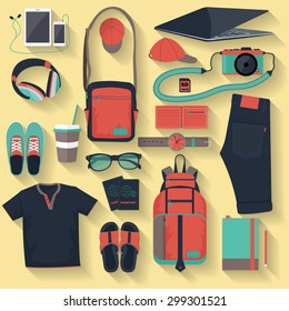 Vector illustration everyday carry and collection dress accessories