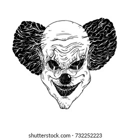 Vector illustration of evil clown face isolated at white background.Linocut engraving retro hand drawn  style.