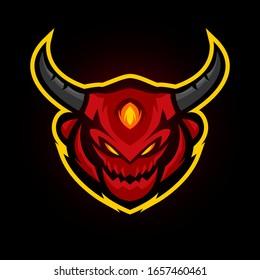 vector illustration, evil head mascot for gaming team or e sports logo