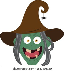 Vector illustration evil laughing witch's face