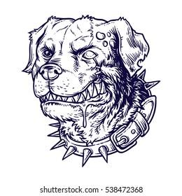 Vector illustration of evil mad dog
