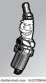 Vector illustration of a  evil smile spark plug mascot for mechanic and motorcycle gang