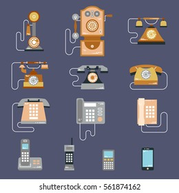 Vector illustration of evolution of communication devices from classic phone to modern mobile phone. Retro vintage icons set. Cell symbols silhouettes isolated. Flat style.