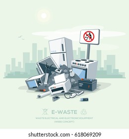 Vector illustration of e-waste garbage pile on the street with city skyline. Electrical and electronic appliance, computer and other obsolete electronic equipment from household fallen on ground.