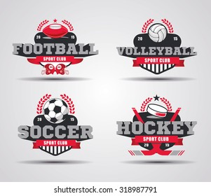 vector illustration of examples of design logos for sports teams and championships, volleyball logo, graphic logo soccer, logo football, hockey icon