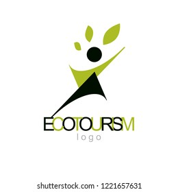 Vector illustration of excited abstract  man with raised reaching up. Ecotourism conceptual logo. Wellness and harmony symbolic symbol.