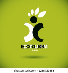 Vector illustration of excited abstract  man with raised reaching up. Ecotourism conceptual logo. Green tourism symbol. Wanderlust and countryside vacation icon.