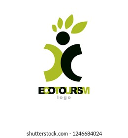 Vector illustration of excited abstract person with raised hands up. Ecotourism conceptual logo. Environmental conservation theme icon. Green ecology metaphor.