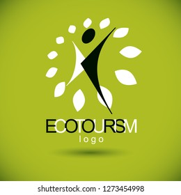 Vector illustration of excited abstract person with raised hands up. Ecotourism conceptual logo. Environmental conservation theme logotype. Green tourism symbol.