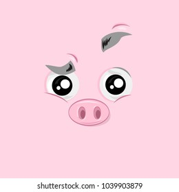 Vector illustration of the excited funny pig face on pink background.