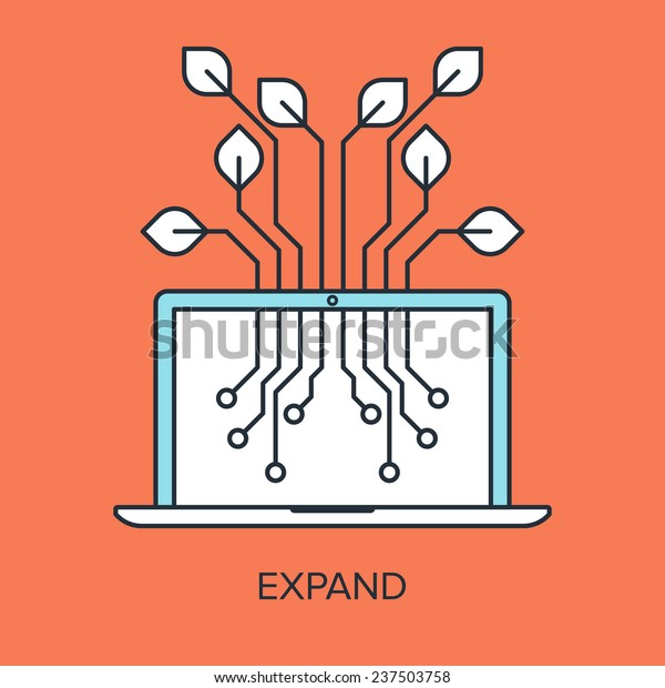 Vector illustration of expand flat line design concept.
