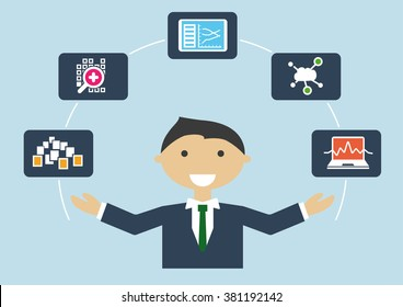 Vector Illustration of IT expert with job profile of a big data scientist or analyst