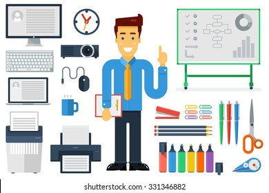 Vector illustration with expert, screen, keyboard, projector, laptop, shredder, printer, pencils, pens, markers, presentation board, etc. Flat style .Elements for infographic.