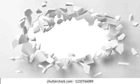 vector illustration of exploding wall with free area on center for any object or background. suitable for any logo, object or background revealing situation for banner, ad or other way usages.