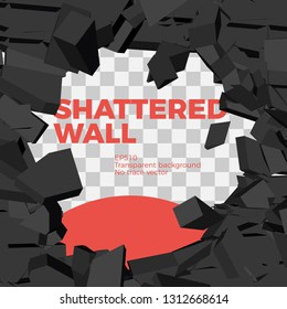 Vector illustration of exploding wall. Shattered black stone bricks in dynamics. Free center area for image or text. Background for teasers, revealing banners.