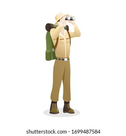 Vector illustration an Explorer using binocular. People to explore the jungle, Man with binoculars enjoying scenic landscape. Explorer cartoon character, Outdoor activity. Vector in flat style