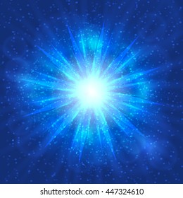Vector illustration with explosion in space on blue background
