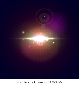 Vector illustration with explosion in space on dark background