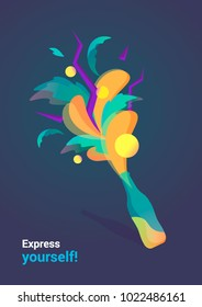 """Vector illustration """"Express  yourself!"""", colerful splash explosion from the bottle."""