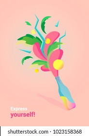 "Vector illustration ""Express yourself!"", colerful splash explosion from the bottle. Pink background."