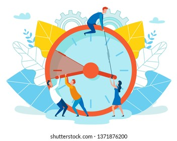 Vector Illustration Extension Deadline Cartoon. Foreground are Big Clocks, People are Delaying Passage Time. For Operational Decision Devote Few Days. Trouble, Productively Organize Workflow.