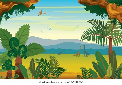 Vector illustration with extinct animals - pterodactyl and diplodocus. Prehistoric landscape with silhouette of dinosaurs, mountains and green plants.