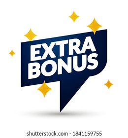 Vector Illustration Extra Bonus Sign With Stars.