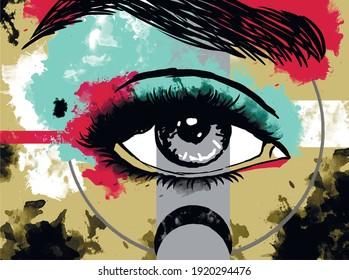 Vector illustration. Eye. Beautiful make-up. Graffiti. Spots and blots. Abstraction. Beautiful eyes. Vector. Background. Beautiful face. Sight.