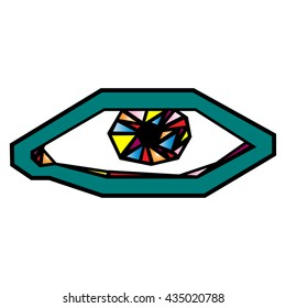 vector illustration of the eye of the colored triangles