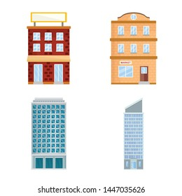 Vector illustration of facade and building sign. Set of facade and exterior stock symbol for web.