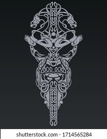 Vector illustration of face made with viking style patterns.