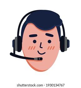 vector illustration, face, man in headset, call center dispatcher, cartoon