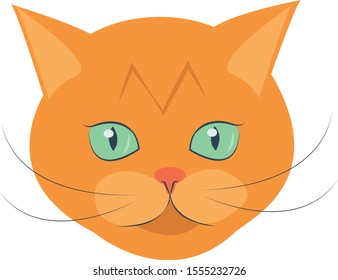 Vector illustration face  of orange tabby cat. Isolated portrait on white background. Cat breed  Cat icon head. Cute kitty, animal's head logo in a flat style, cat's face.