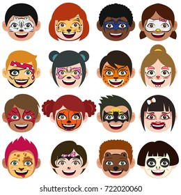 A vector illustration of Face Painted Kids