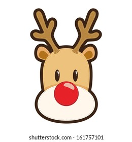 Vector illustration of a face of Rudolf red nosed reindeer