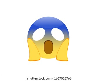 Vector illustration of Face Screaming in Fear emoji