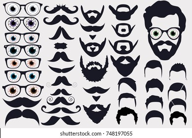 Vector illustration of faces avatar creator. With men color eyes and glasses, mustaches and beards, hair. Create your own original icons for social media or web site.