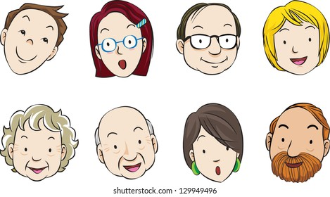 Vector illustration of the faces of eight adults, with different expressions.