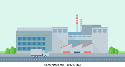 Vector illustration. Factory in flat style