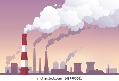 Vector illustration of a factory landscape with pipes. Cartoon flat style.