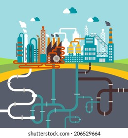 vector illustration of a factory for manufacturing products or refinery plant for processing natural resources with a network of attached pipes for distribution for infographics