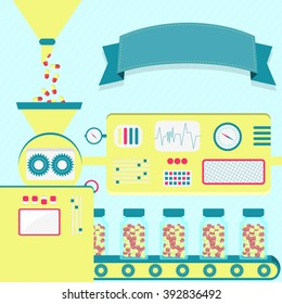 Vector illustration of factory producing pills. Pills being packaged. Empty ribbon for insert text.