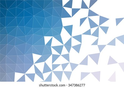 Vector and Illustration of a fading low polygon background made with blue triangles.