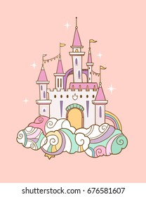 vector illustration with fairy cloud castle on pink background